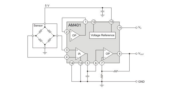 AM401 as sensor signal-conditioner with protection functions.