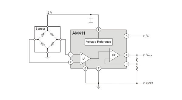 AM411 as protected sensor signal-conditioner.
