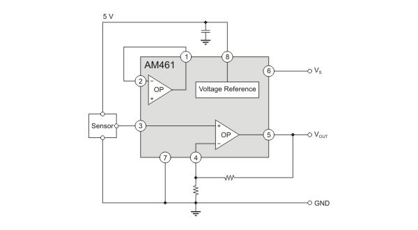 AM461 as sensor signal-conditioner with protected voltage output.