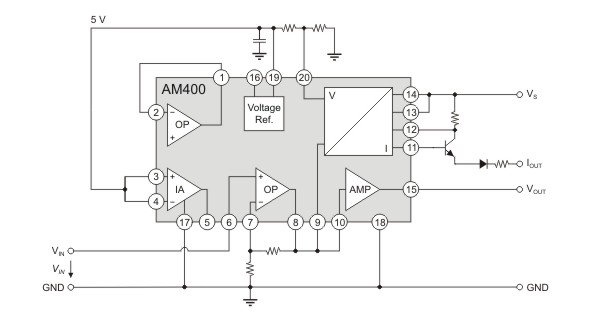 AM400 as three-wire sensor signal-conditioner.