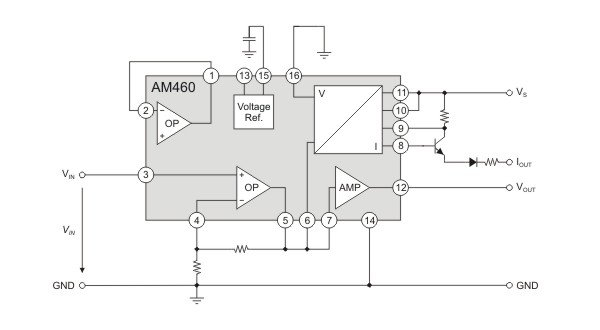 AM460 as three-wire sensor signal-conditioner with protected voltage and current output.