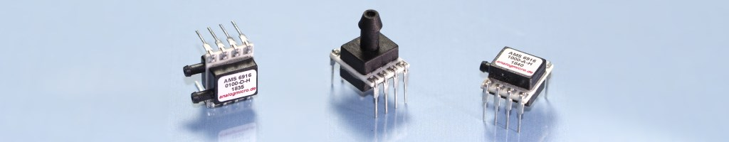 Different types of the board-mount pressure sensor series AMS 6916 with analog voltage output.