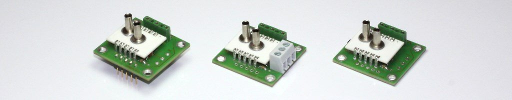 Different types of the pressure sensor module series AMS 2710 with analog voltage output.