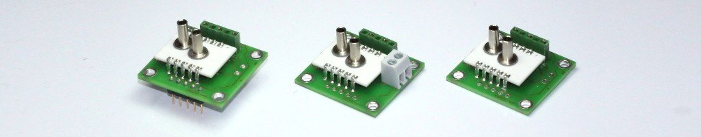 Different types of the pressure sensor module series AMS 2712 with 4 .. 20 mA current-loop output.